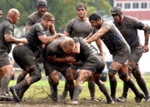 Rugby Team, voller Einsatz